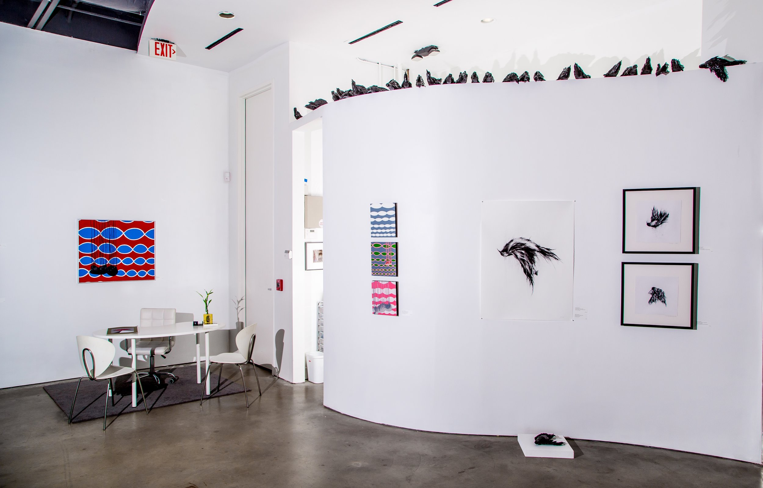 """""""Fall to the Wild"""" exhibition with artwork (left to right) by David Solomon and Rachel Gardner (Jan 2018) at Cindy Lisica Gallery, 4411 Montrose, Houston TX. Photo by James Klein"""
