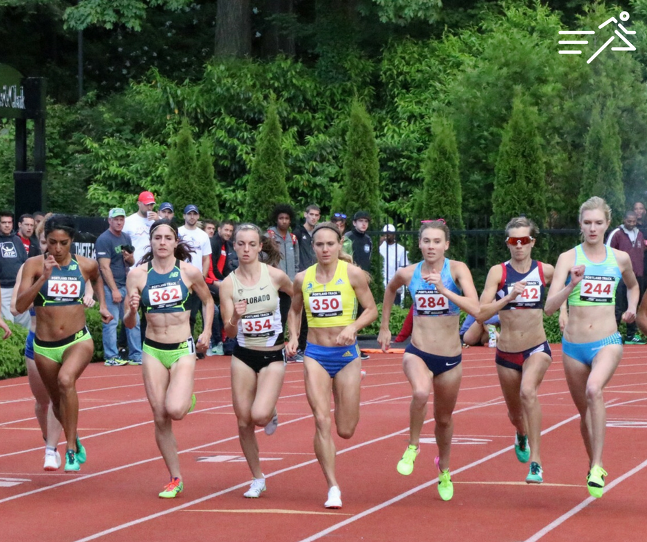 High Performance West | Rip City Professional Athletes Eleanor Fulton (far right) & Sasha Gollish (2nd from far right) compete at the 2017 Portland Track Festival in the W's 1500m.