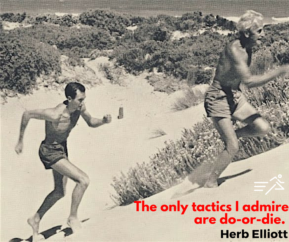 Herb Elliott  (left),1960 Olympic Gold Medalist (1500m) and former World Record Holder (1500m & 1 Mile), chases his coach, 50 years his senior, Percy Cerutty  (right)up sand dunes in Portsea, Australia during a potent training session typical of Cerutty's innovative and avant-garde compeitive preparation approach.