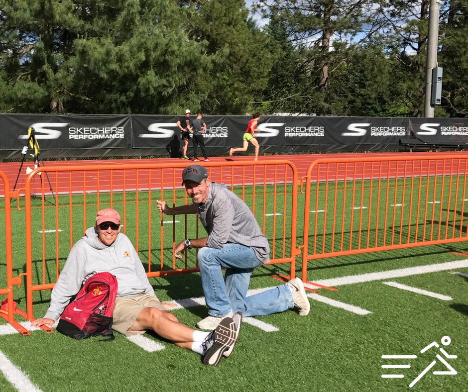 2017 USATF Coach of the Year, Jerry Schumacher of the Bowerman TC, at the  Portland Track Festiva  l  with his college coach turned friend, colleague, and mentor Martin Smith, Director of Track & Field and Cross Country at Iowa State University.