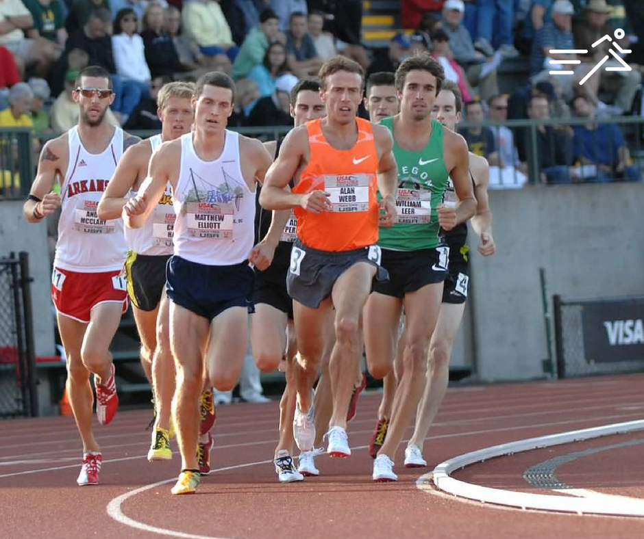 Alan Webb leads the pack in the qualifying rounds of the Men's 1500m at the 2009 US Outdoor Track & Field Championships.  Photo courtesy of  Michael Scott