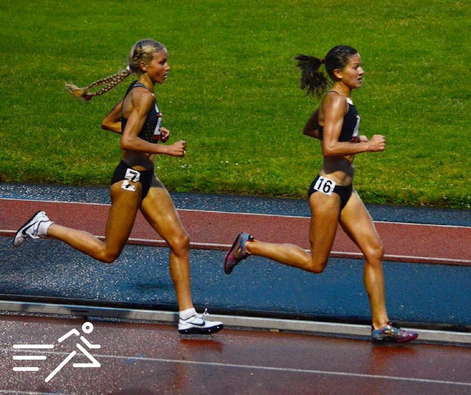 Tara Welling  (right) pushes the pace at the 2016 edition of the  Portland Track  Stumptown Twilight Women's 5,000m, where her front running efforts produced a personal best mark of 15:26.80.