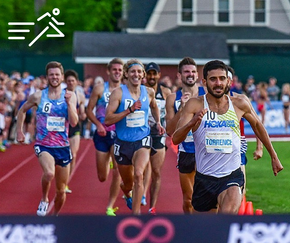 David Torrence (front right) at the  2017 Adrian Martinez Classic  charges down the homestretch of the Adro 1 Mile to set the meet record of 3:53.21. It was the penultimate victory of his career before his death.    Photo courtesy of  Michael Scott .
