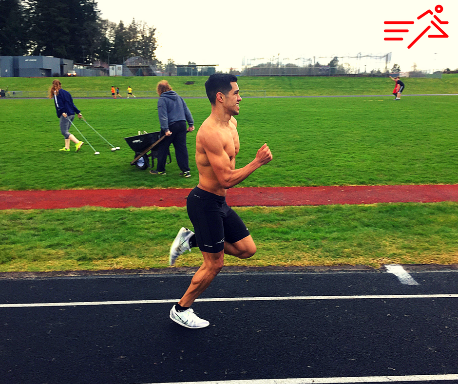 Jose Macias (pictured in the crux of the workout) deals with the harsh metabolic and mental realities of this 5K specific session.