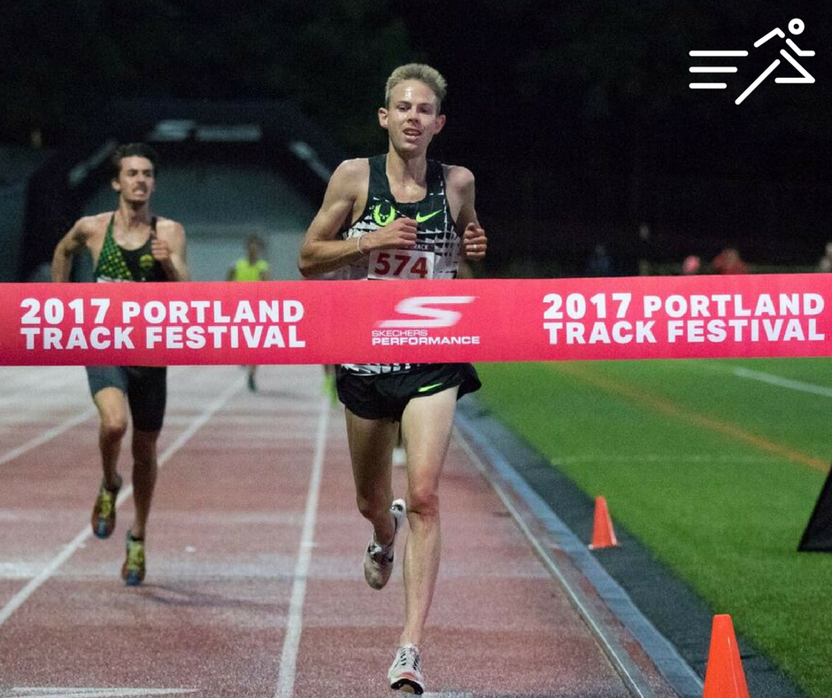 Galen Rupp wins the High Performance section of the Men's 10,000m at the 2017 Skechers  Portland Track Festival .