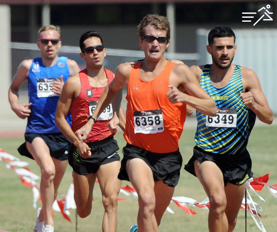 Tommy Schmitz (orange vest, center) in familiar territory, out in front on race day.