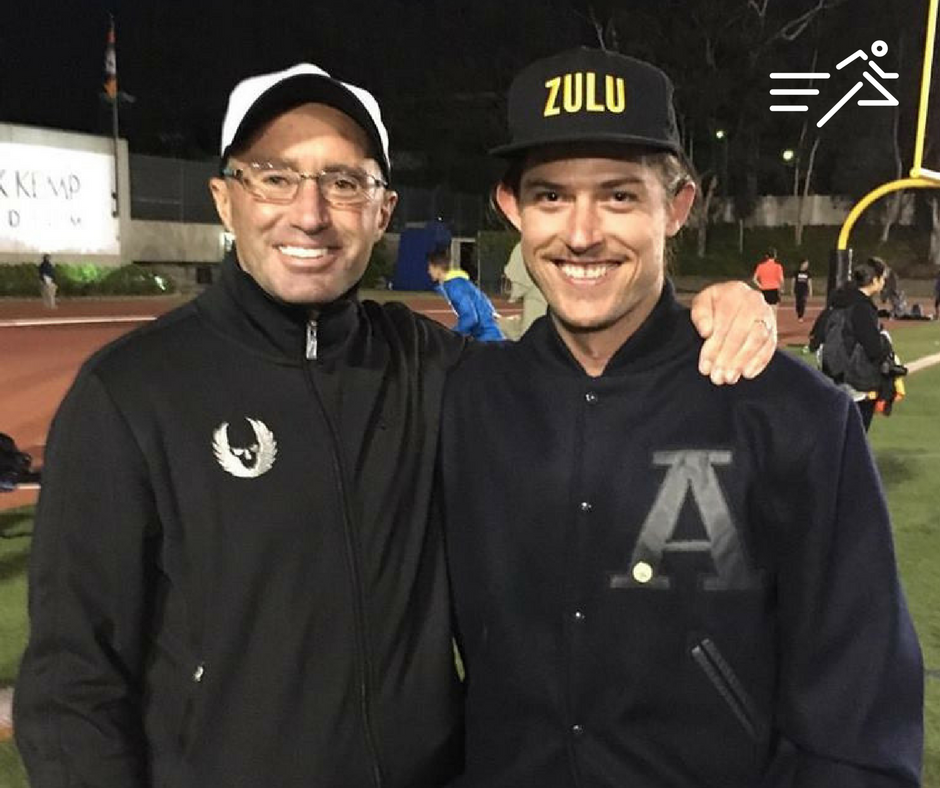 Alberto Salazar (left), coach of the Oregon Project, with Ariel Stark-Benz (right), one of the original members of Al's Pals, at the 2016 edition of the USATF Distance Classic at Occidental College in Los Angeles.