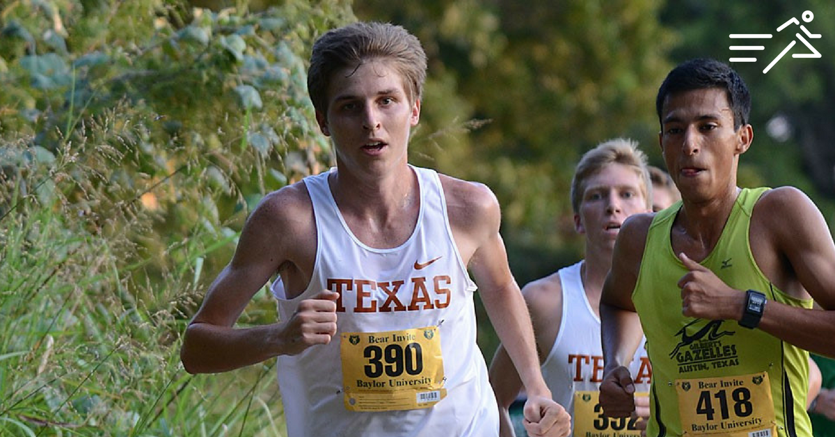 Will Nation (center; white vest) competed for the Texas Longhorns during his undergrad years. He enjoyed a modest career in college. Today he is the proud owner of a 2:17 marathon personal best mark.