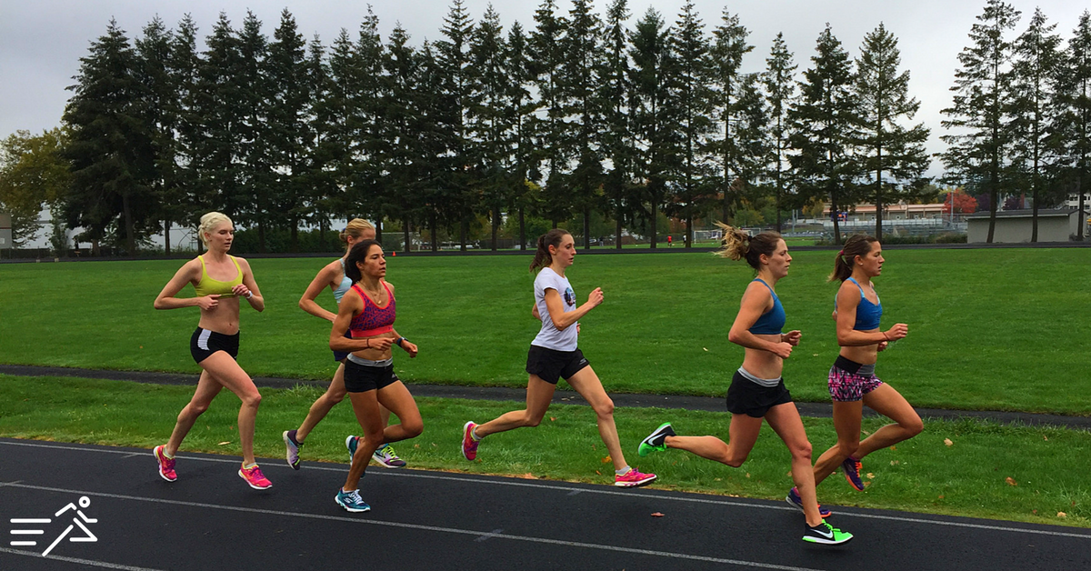 Tara Welling (far right) and Nicole Blood (second from right) lead the HPW Pro Women's team during a session in early fall 2016.