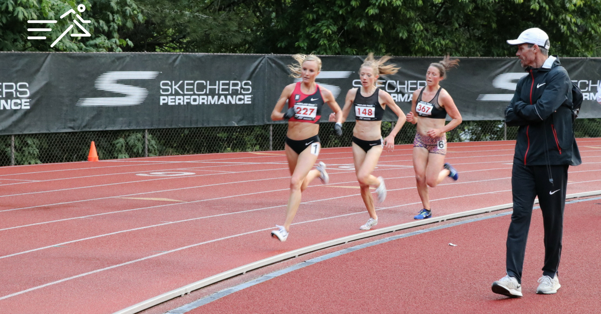 Jerry (far right) encourages Shalane Flanagan en route to her victory at the 2017  Portland Track Festival  High Performance Women's 10,000m.
