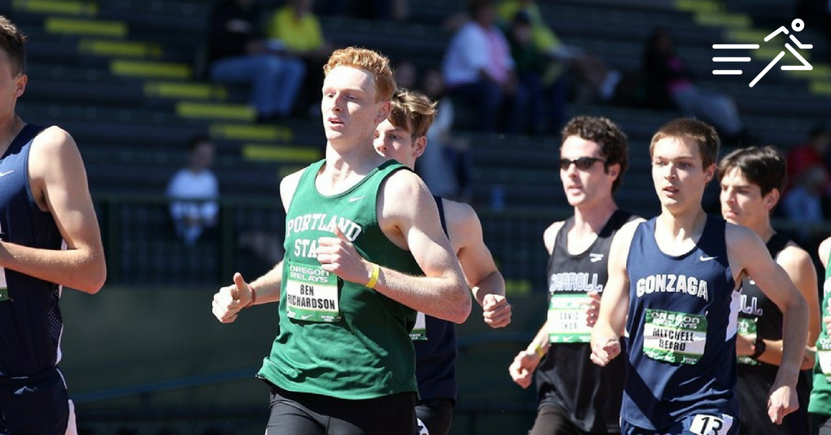 """""""Big Ben"""" AKA """"The Legend,"""" (green vest) who stands nearly 6'5,"""" is shown competing at the Oregon Relays in 2015."""