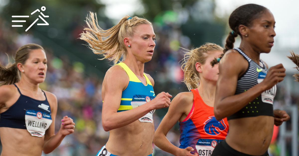 Katie Mackey (center) competes at in the Women's 5,000m final at he 2016 US Olympic Trials.