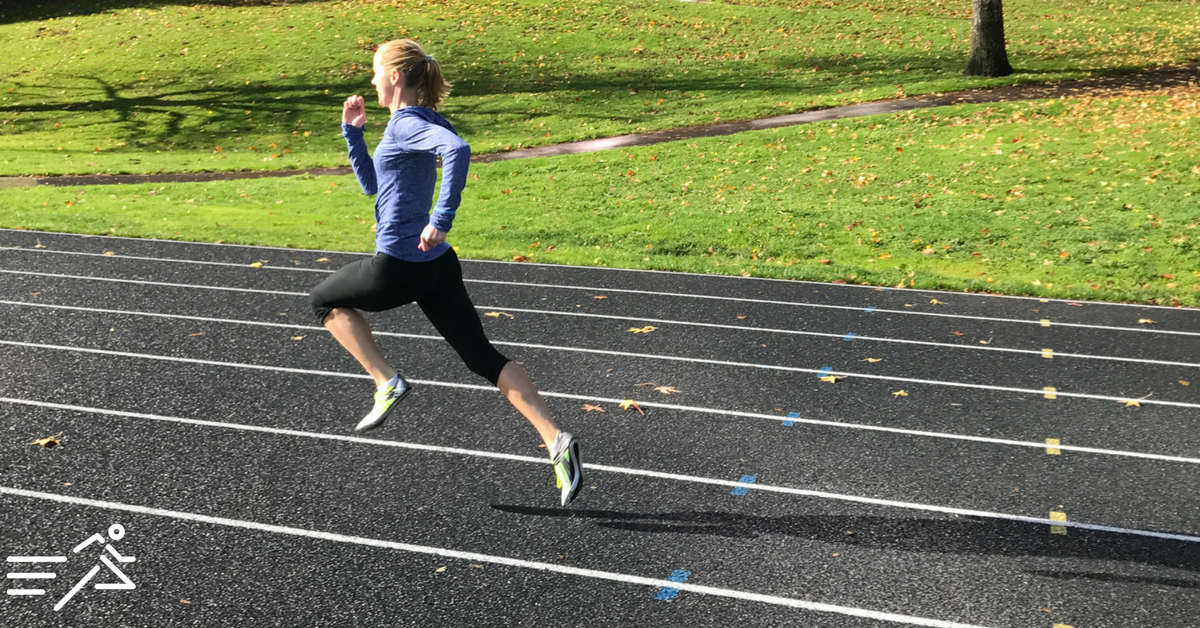 HPW ELITE 800m ace  McKayla Fricker  pictured sprinting (in spikes) during a mid-October practice in 2017 as she readies for the 2018 indoor track season.