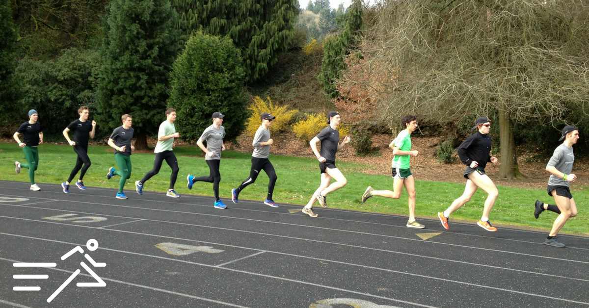 "Jake (2nd from left), John (6th from left) and Neil (far right) run with fellow members of the 2014 Portland State University ""Long Green Line."""