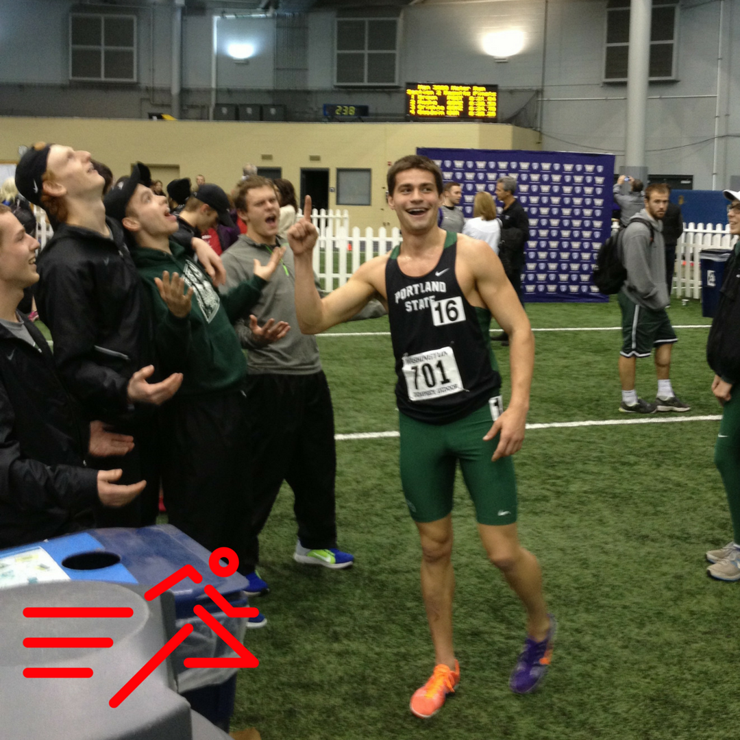 T-Roy Brown (right) shares a fun moment with his Portland State teammates after his then-school record in the Men's 3,000m run in 2014.