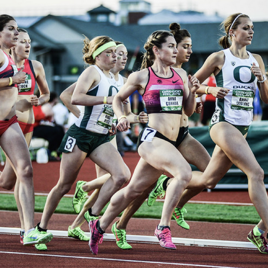 Anna Connor (pink top) competes in the Oregon Relays 1500m. (Photo: TrackTownPhoto )