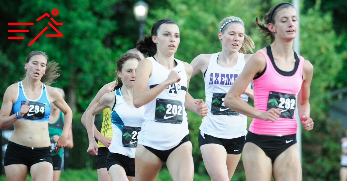 Camelia Mayfield (pink top) and Amber Rozcicha (#202) compete in the Women's 5,000m at the 2013  Portland Track Festival .