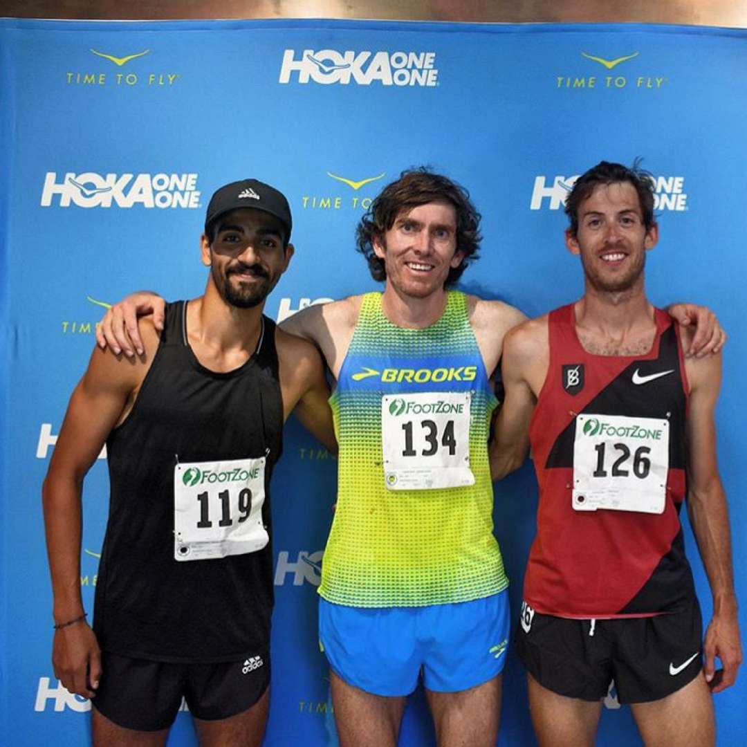 Daniel Herrera (left) with on the podium at the Bend Road Mile in 2017.