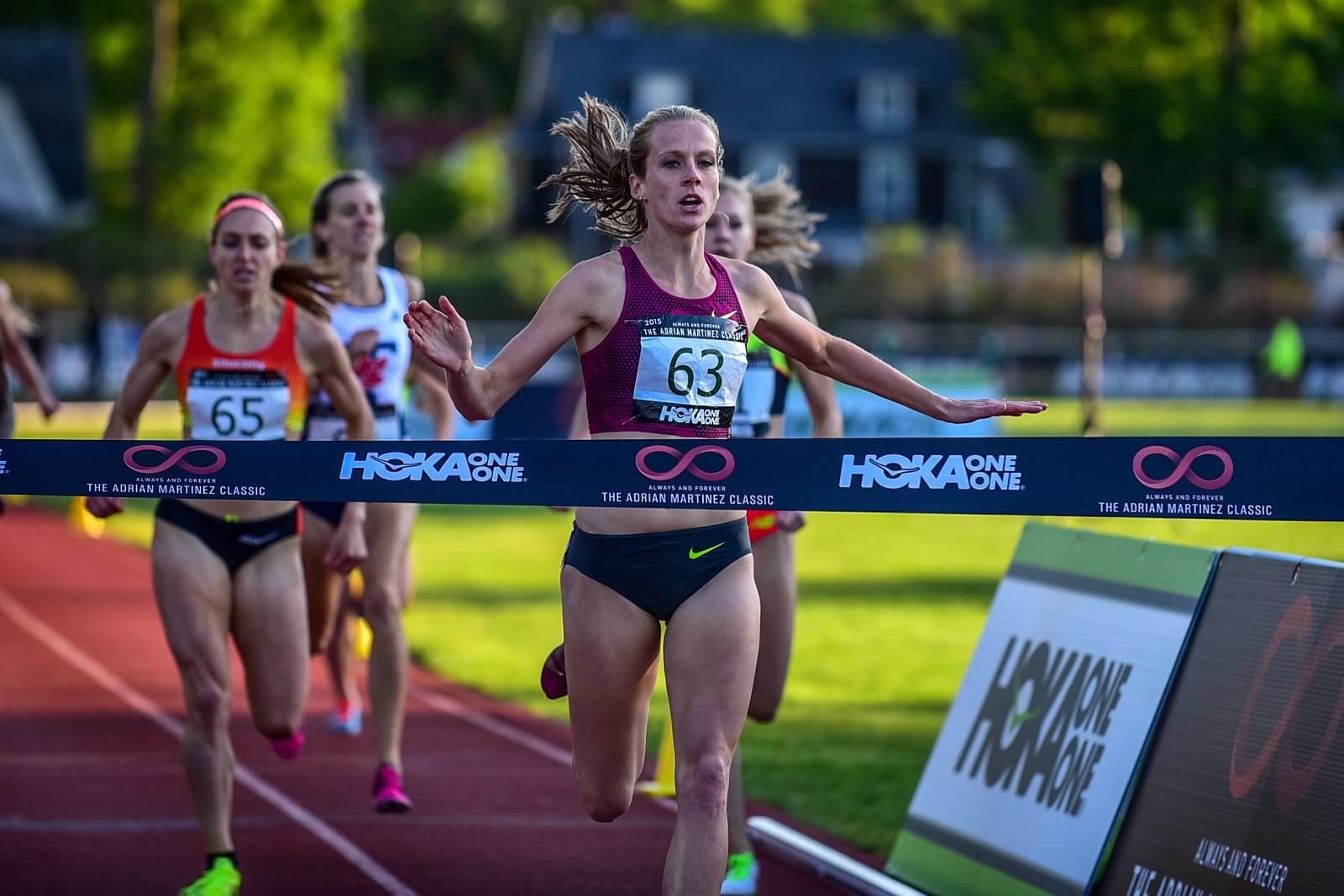 McKayla Fricker  winning the 2015 Adrian Martinez Classic Women's 800m. Photo: Michael  Scott .