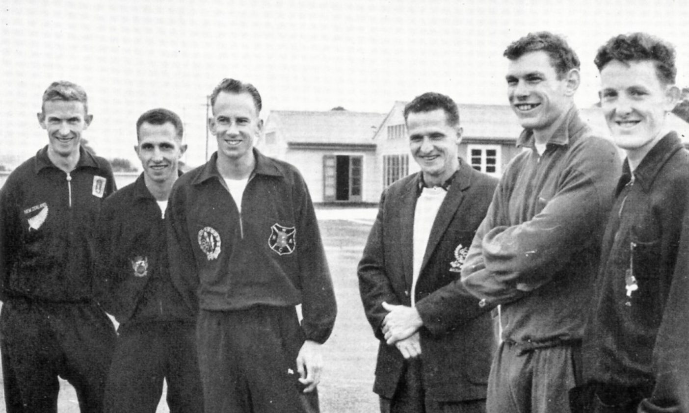 Arthur Lydiard (hands folded) with his team at the 1960 Rome Olympics.