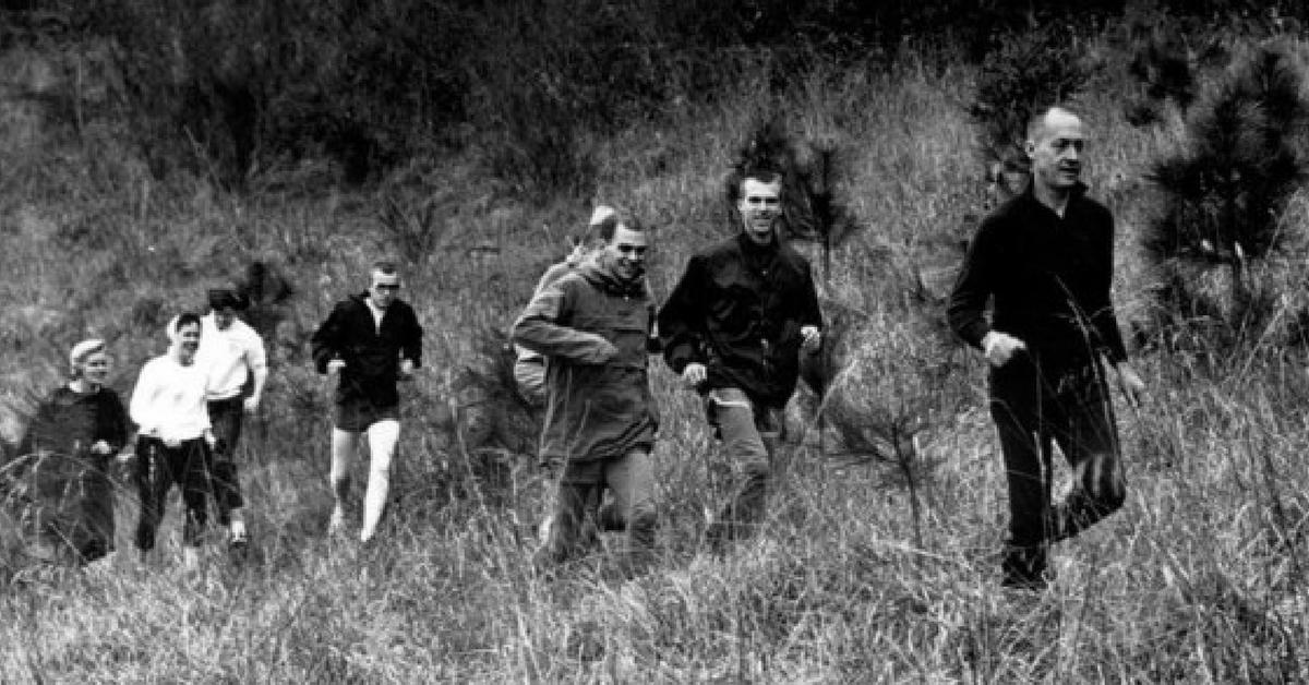 Former University of Oregon track coach Bill Bowerman, with unidentified runners in the early 1960s.