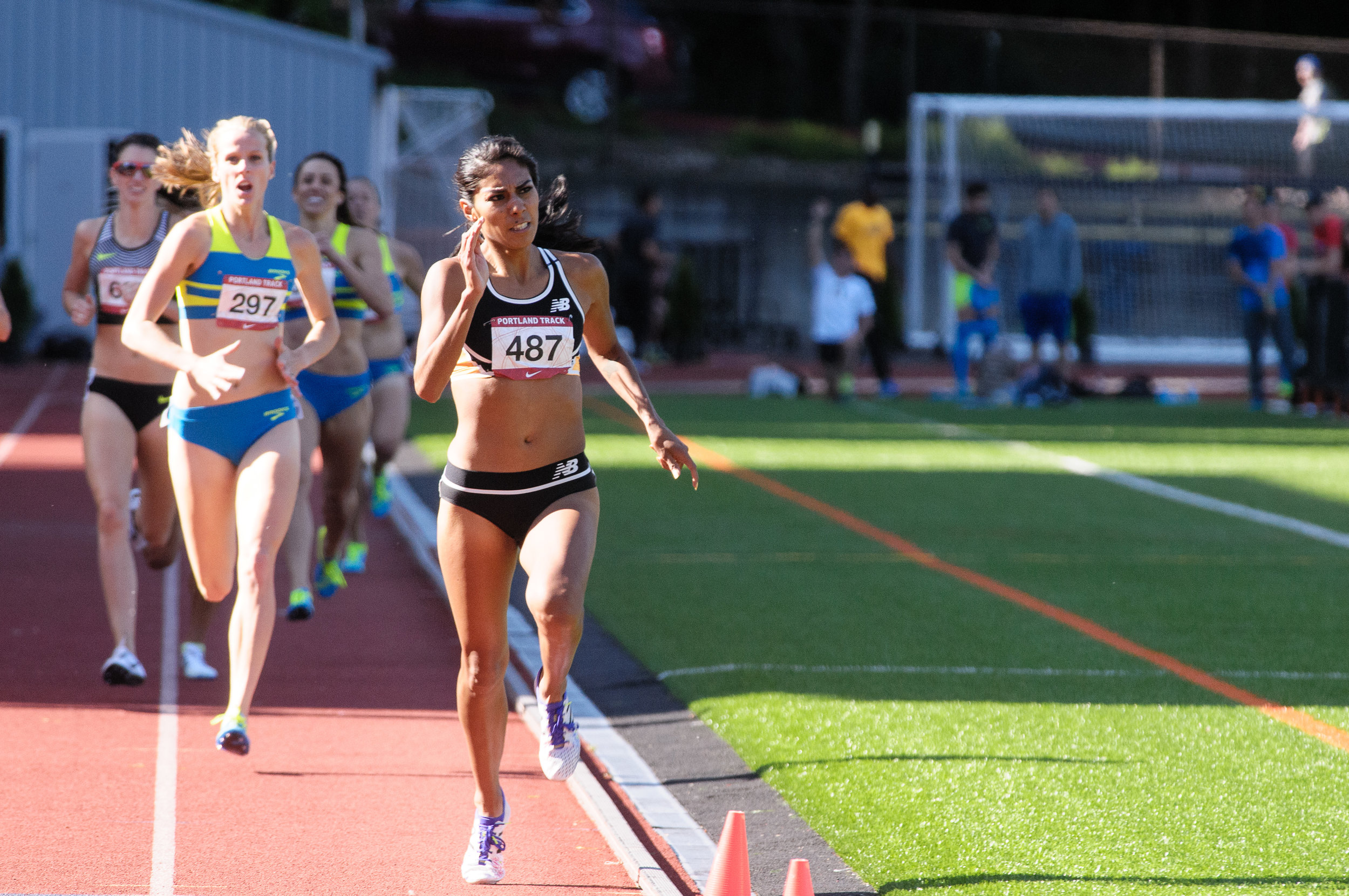 Friend of HPW and esteemed competitor, Brenda Martinez (#487), shown winning the 2016 Portland Track Festival Women's 800m with HPW Elite's  McKayla Fricker (#297) placing 2nd.