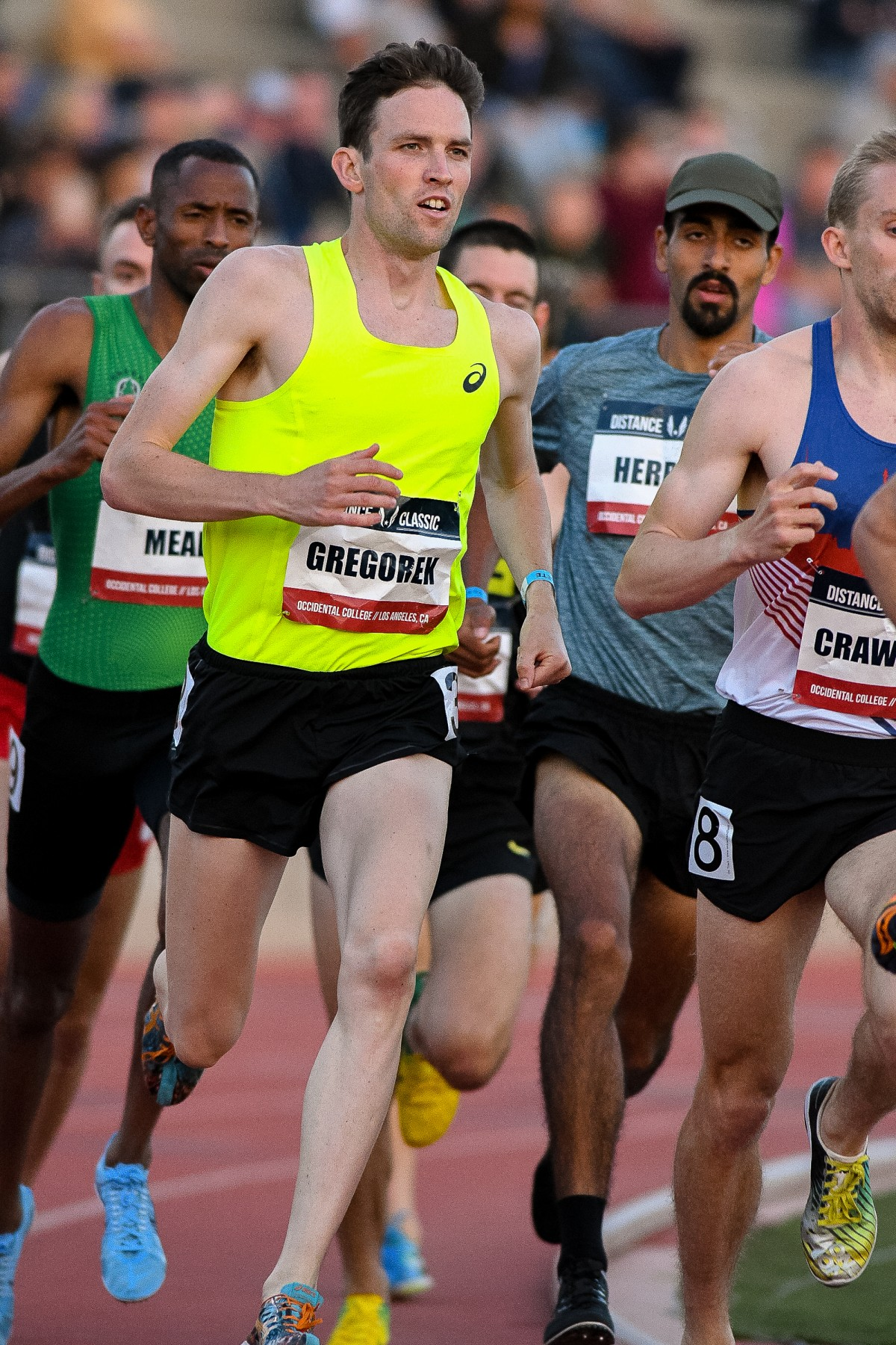 Daniel, in the olive hat, competes in Section 1 of the men's 1500m at the USATF Distance Classic.