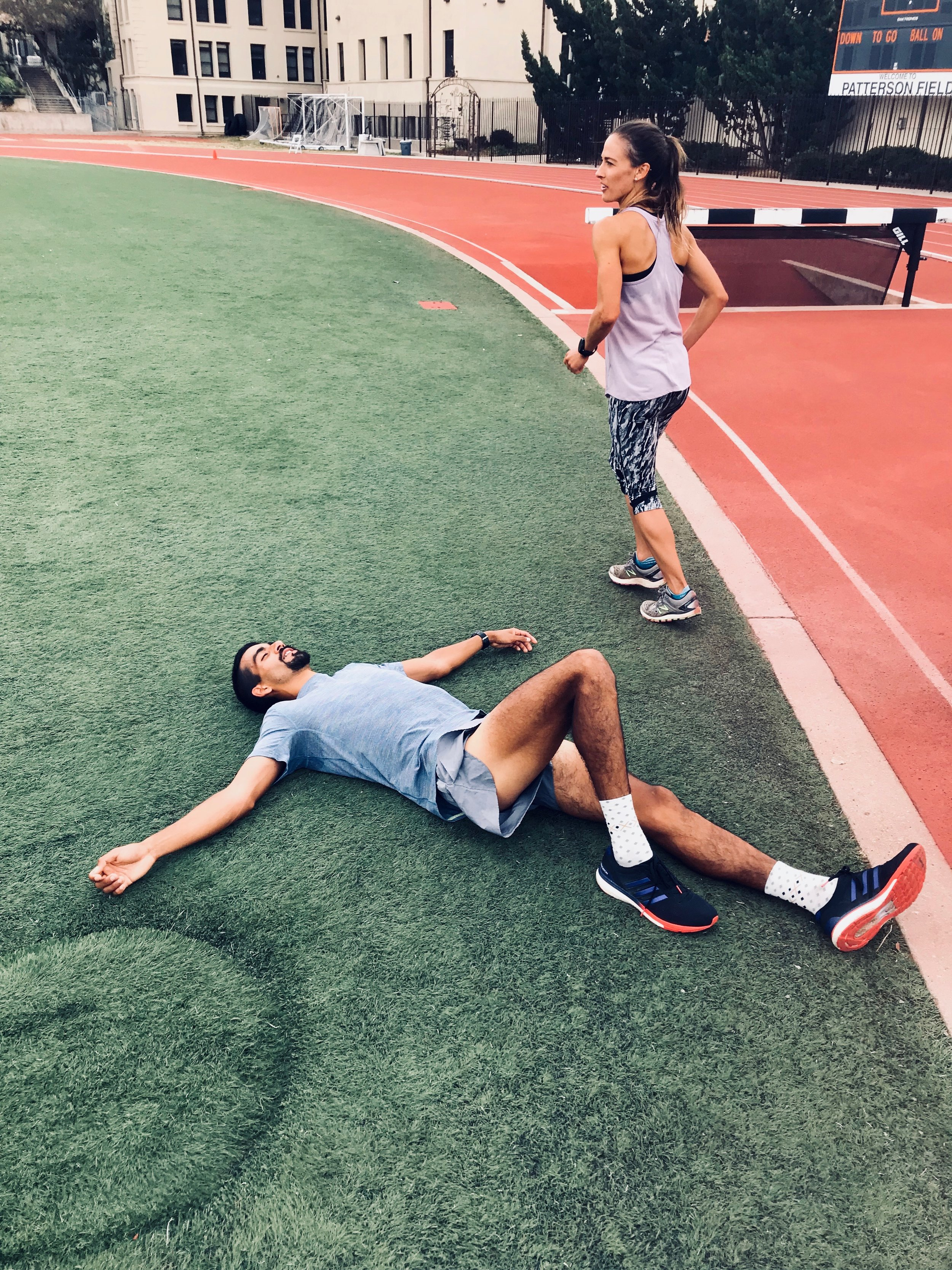 The post workout realities of a demanding speed endurance session.