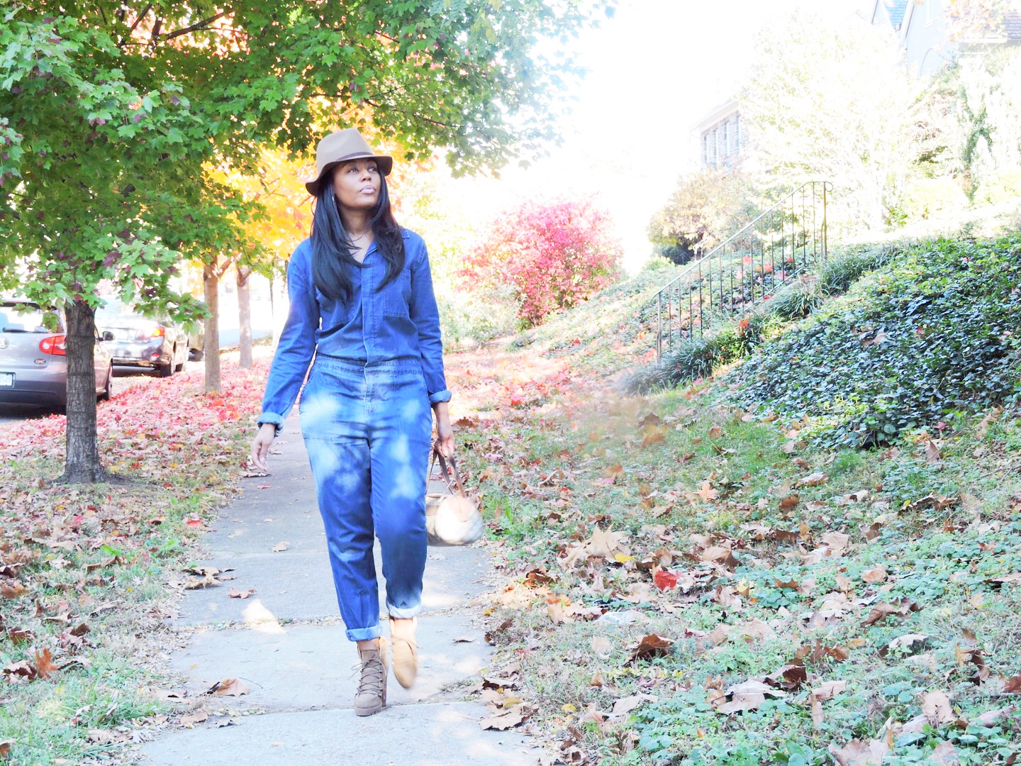Shannan's Look: Hat and Jumpsuit Forever21   Boots DSW Warehouse   Bag Gucci {old}