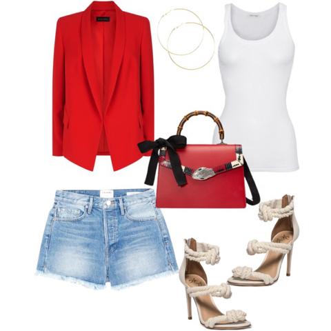 Denim Shorts (lancecrawdford.com); Tank Top (jades24.com); Blazer (Harrods.com); Sandal (heels.com); Bag (Gucci.com); Earrings (icing.com)