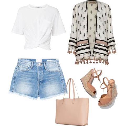 Denim Shorts (lancecrawford.com); Kimono (riverisland.com); Espadrille Sandal (shop.harpersbazaar.com); Twist Detail Tee (intermixonline.com); Tote Bag (shop.harpersbazaar.com)