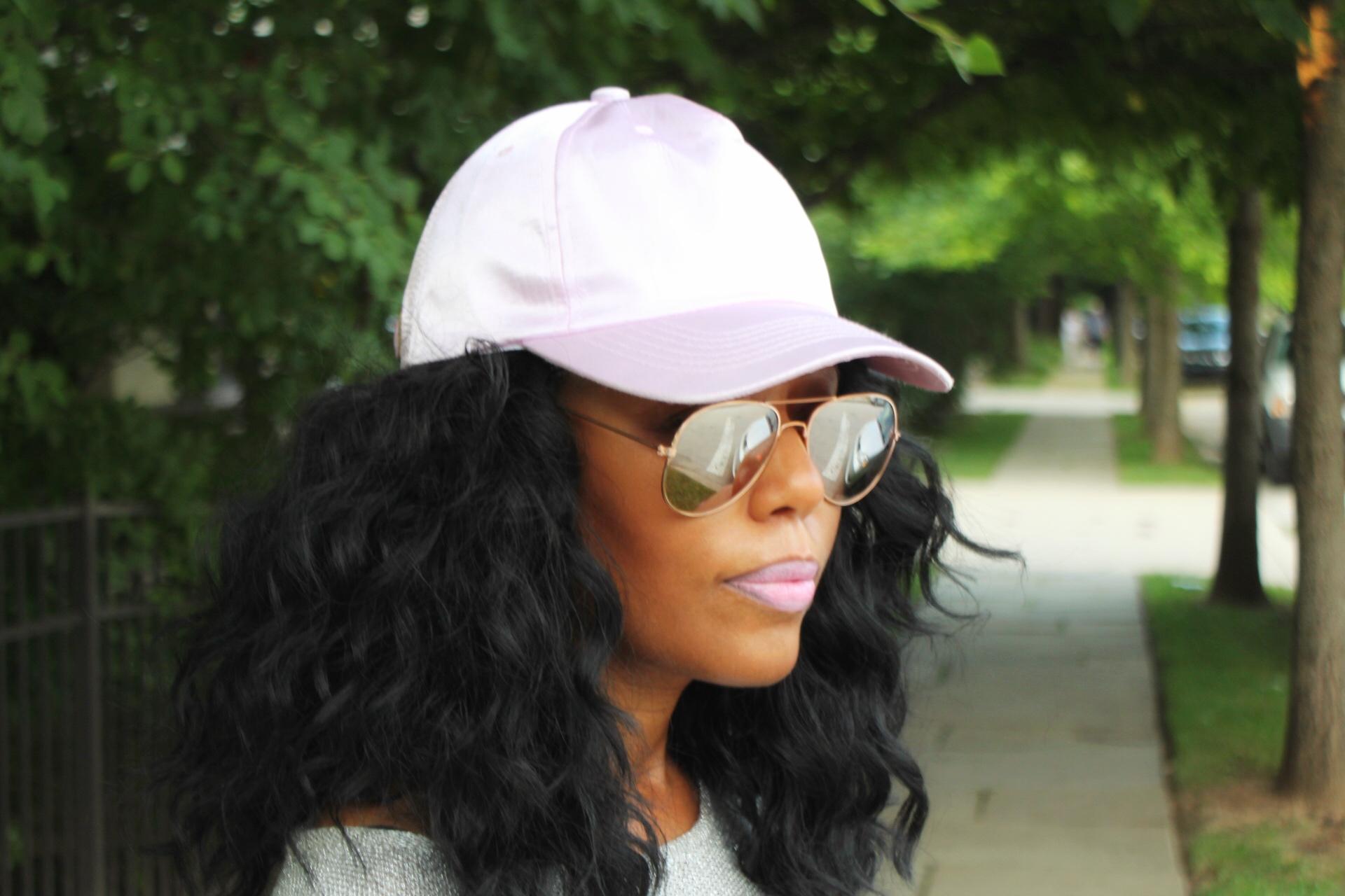 Summer-baseball-hat-and-metallic top