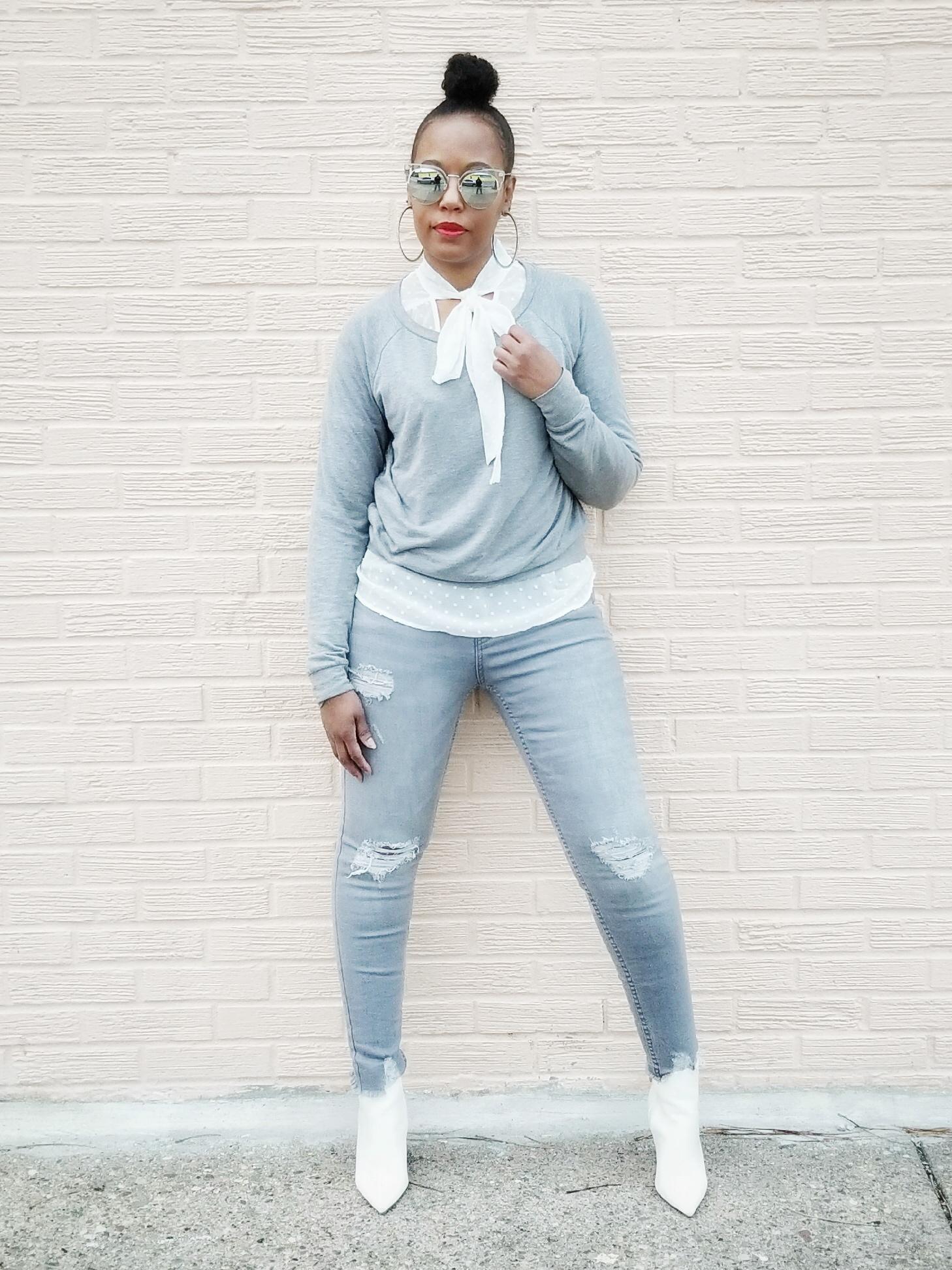 Sweatshirt (Forever21) Alternatives  here  | Top (Primark) | Jeans (Primark) | Booties (Forever21)
