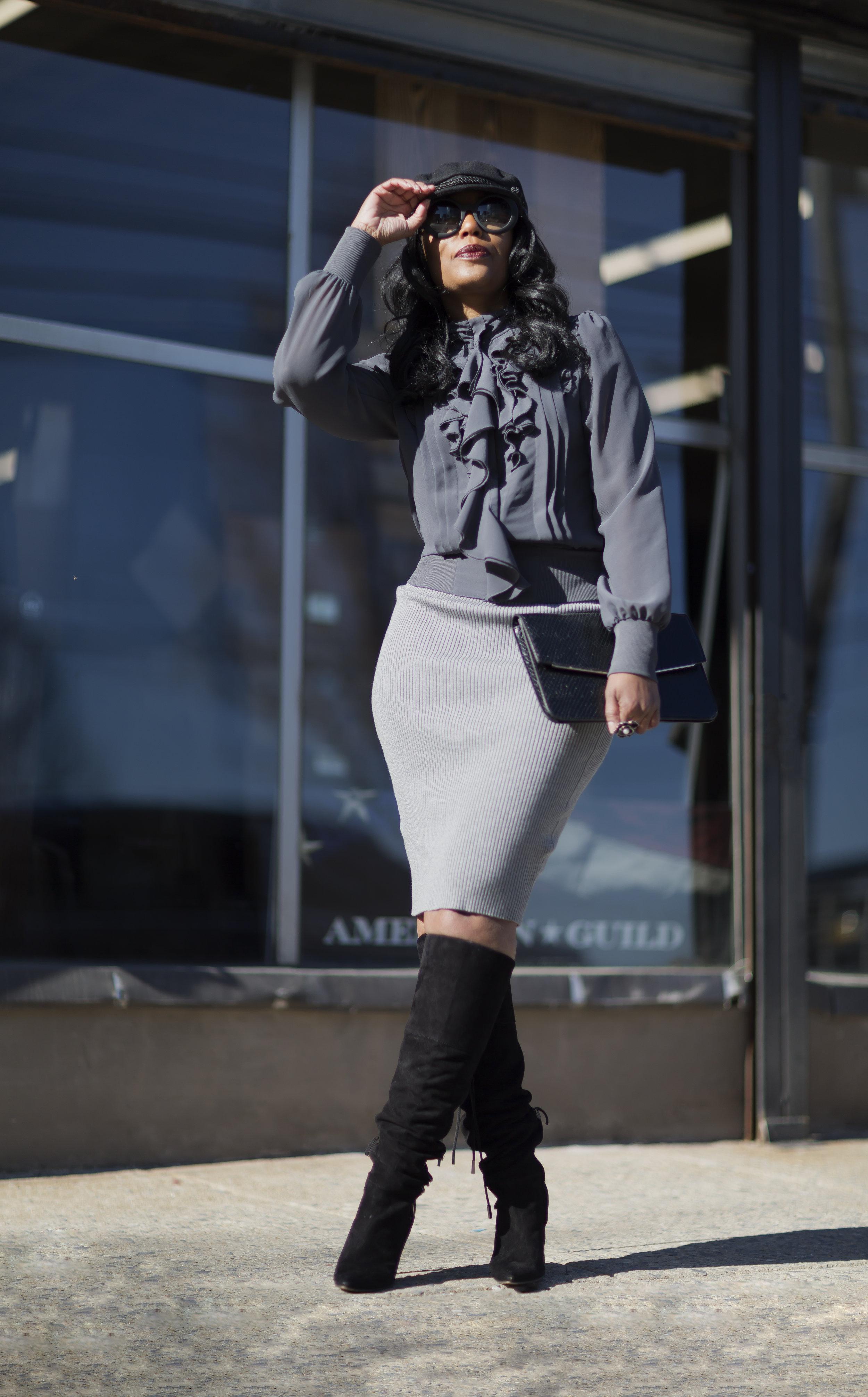 Bella Pencil Skirt( Eve Lawrence Boutique ) | Jacket(Express) old | Boots(DSW) old | Hat(Primark)