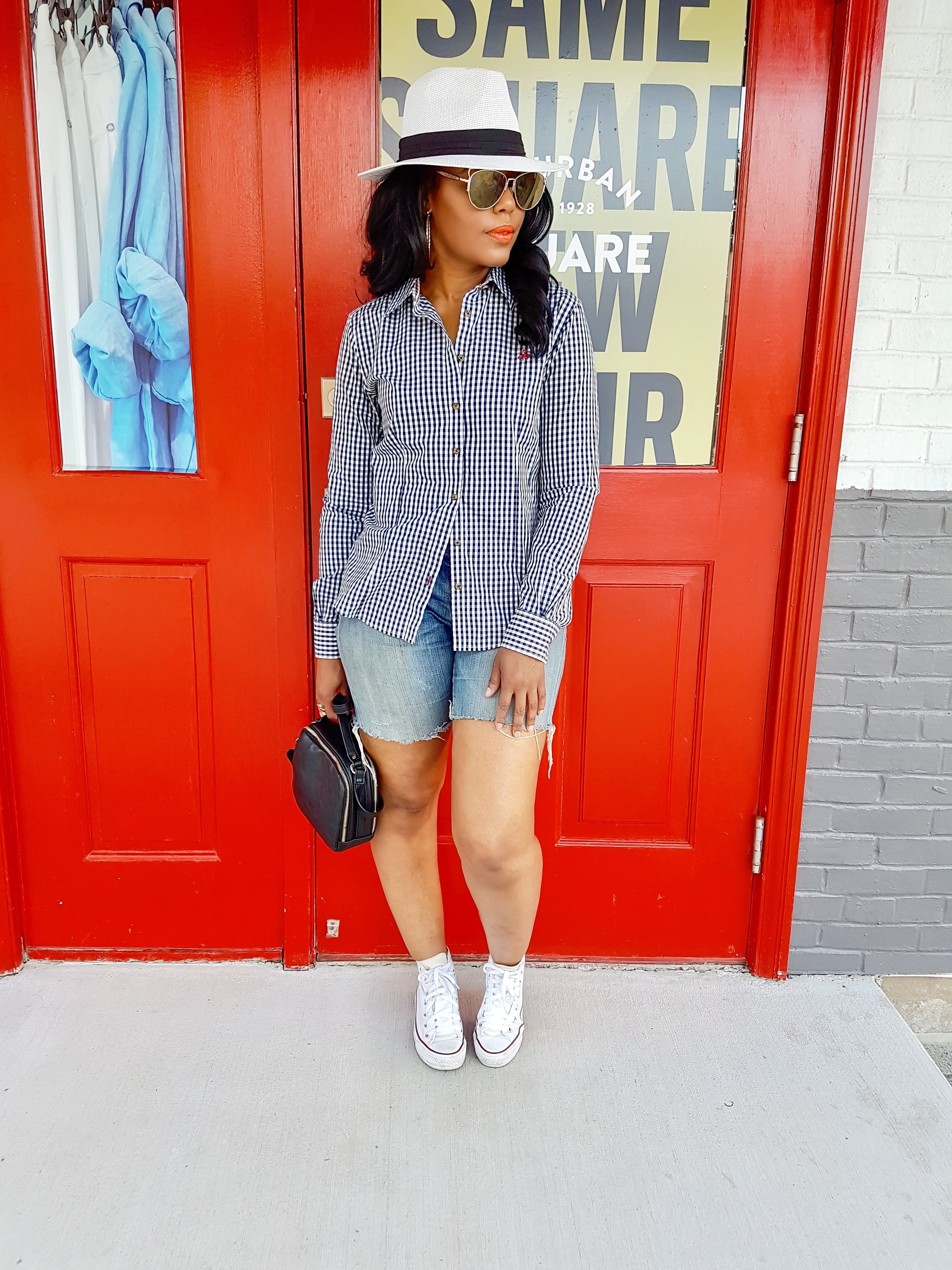 Jeans:DIY cut offs; Button down (thrift find); Hat (old); Sneaker (Converse)