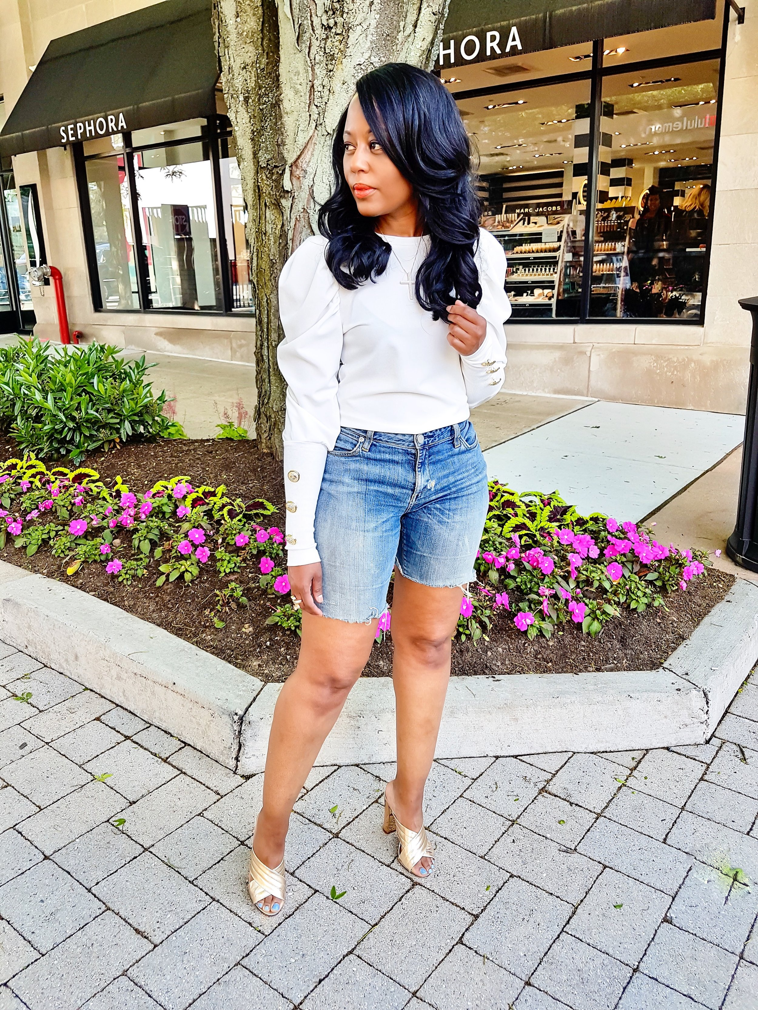 Jeans:DIY cut offs; Top ( Pynk Mannequin) ; Mules (Bamboo) old