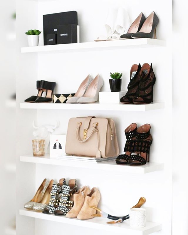 If you want to organize your shoes but maybe have limited closet space try putting them on floating shelves. This is a great way to display your collection especially the core six to eight pairs on shelves where you can easily see them. When it comes to shoe storage the key is to stay on top of your inventory, this is the best way to keep yourself from overspending so that you can see what you actually have. Comment if you use floating shelves or  would try them. . . . . . . . . . . . . #organizedcloset #curatedcloset #organizedlifestyle #floatingshelves #bossgirlempire #stylegram #slaytheday #stylelove #calledtobecreative #shoes #pursuepretty #walkincloset #organizingtips  #wardrobe #curatedwardrobe #wardrobeconsultant #styleblogger #PrettyLittleThings #phillypersonalstylist #styleonabudget #fashiononabudget #storage #personalshopper #styleiswhat #closetgoals #dreamcloset #shoeorganizer#organizedcloset  #simplify #theclosetconsultant