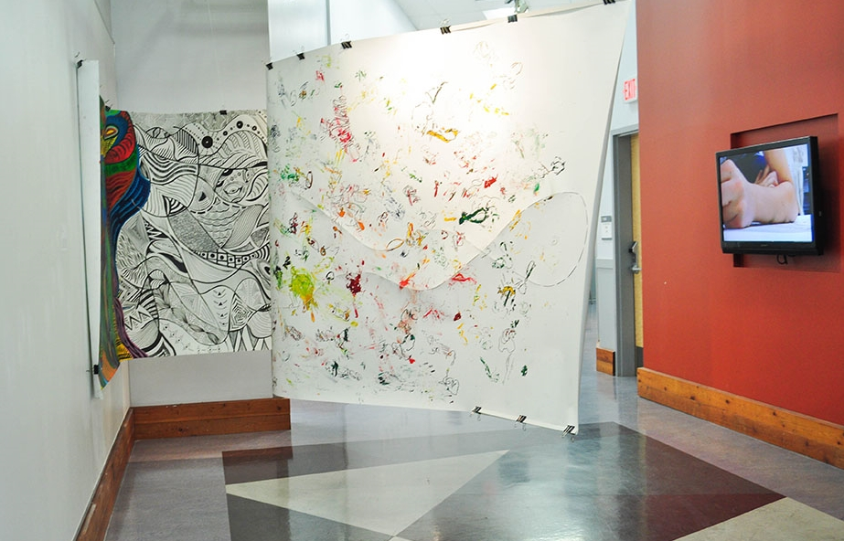 "Freedom Versus Control (Installation View),  60x300"",   Drawing paper, Acrylic paint, Permanent marker, Video, 2014, Mallory Donen, BFA Open House, UFV Building C, Abbotsford, BC"