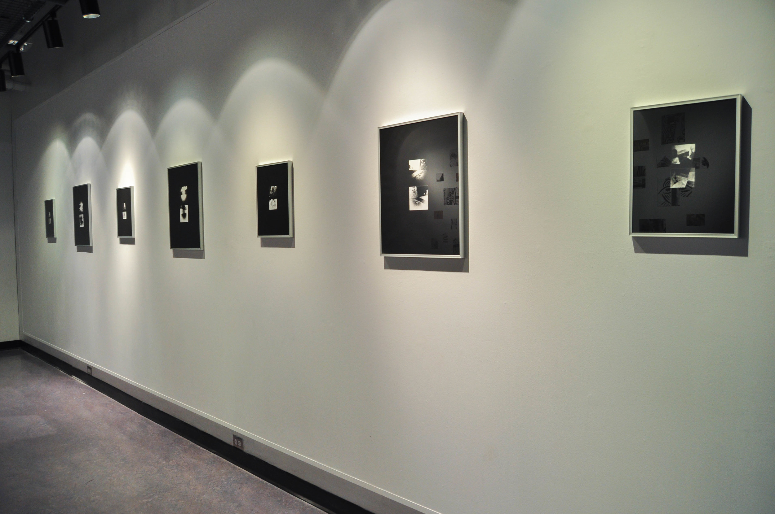 """Fragments Re-Imagined (Installation View), 11x14""""(4), 16x20""""(3),Silver gelatin prints, 2014, Mallory Donen, UFV Building C, Room C1401, Abbotsford, BC"""