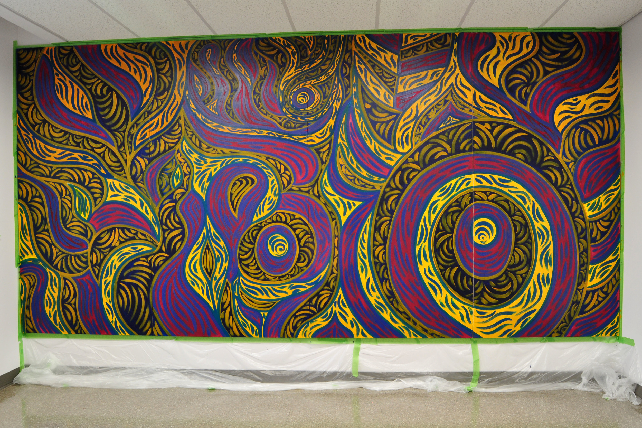 Fiesta (Studio View)  , 15 ft 4 inches x 7 ft 6 inches, Acrylic on pine, 2015, Mallory Donen,  Tache 372, University of Manitoba, MB