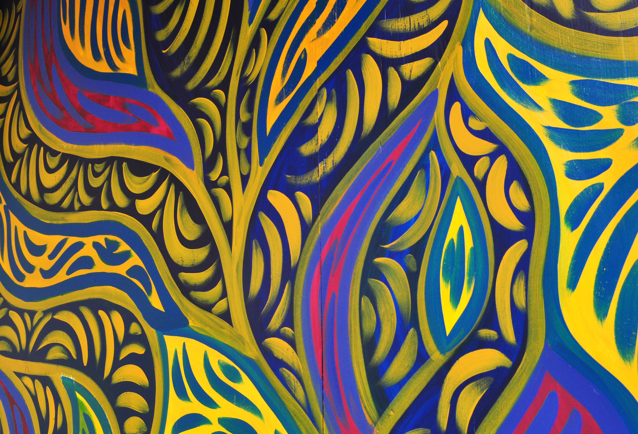 Fiesta (Detail)  , 15 ft 4 inches x 7 ft 6 inches, Acrylic on pine, 2015, Mallory Donen,  Tache 372, University of Manitoba, MB