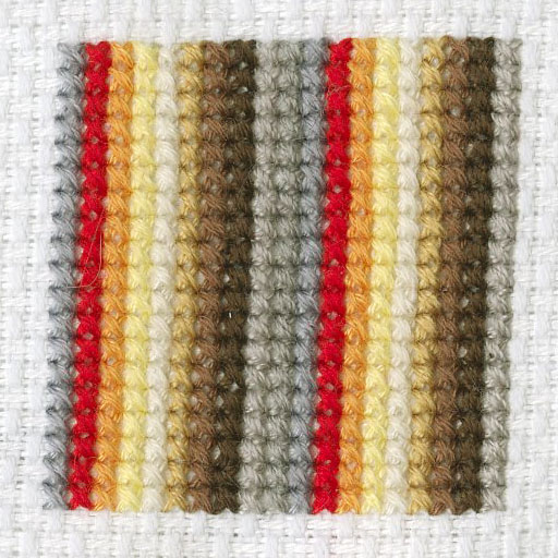 """(2)  When I Cross-Stitch I Feel Like a Machine: 50 Hours of Self-Love and Self-Reflection (Detail) , 1.5""""x1.5"""", Embroidery floss on canvas, Mallory Donen, 2017"""