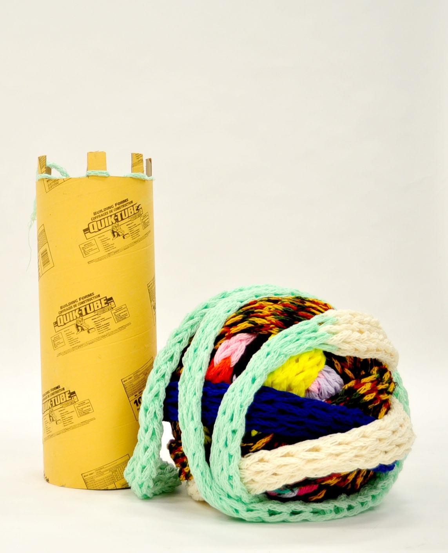 The Machine: Knitting Ouroboros  (In Progress) ,  Yarn, cardboard, Mallory Donen, 2017