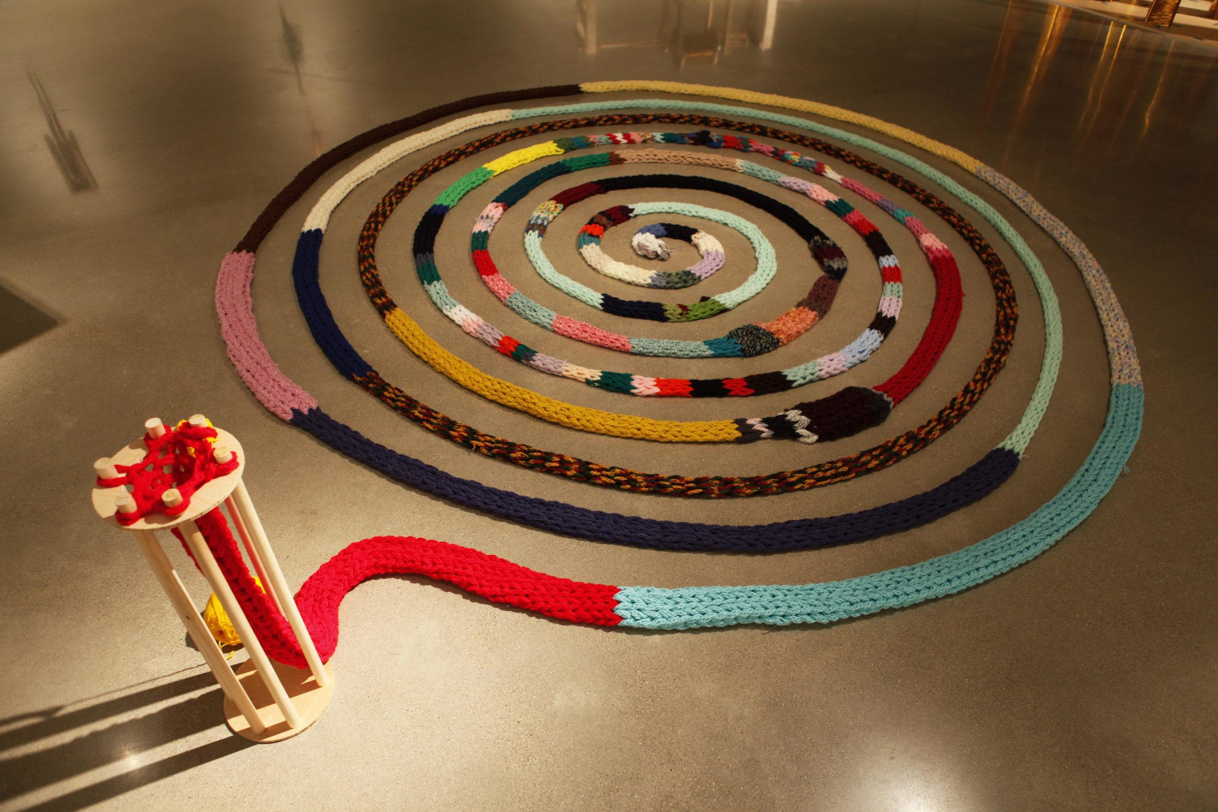 The Machine: Knitting Ouroboros,  Yarn, Wood, Mallory Donen, 2017