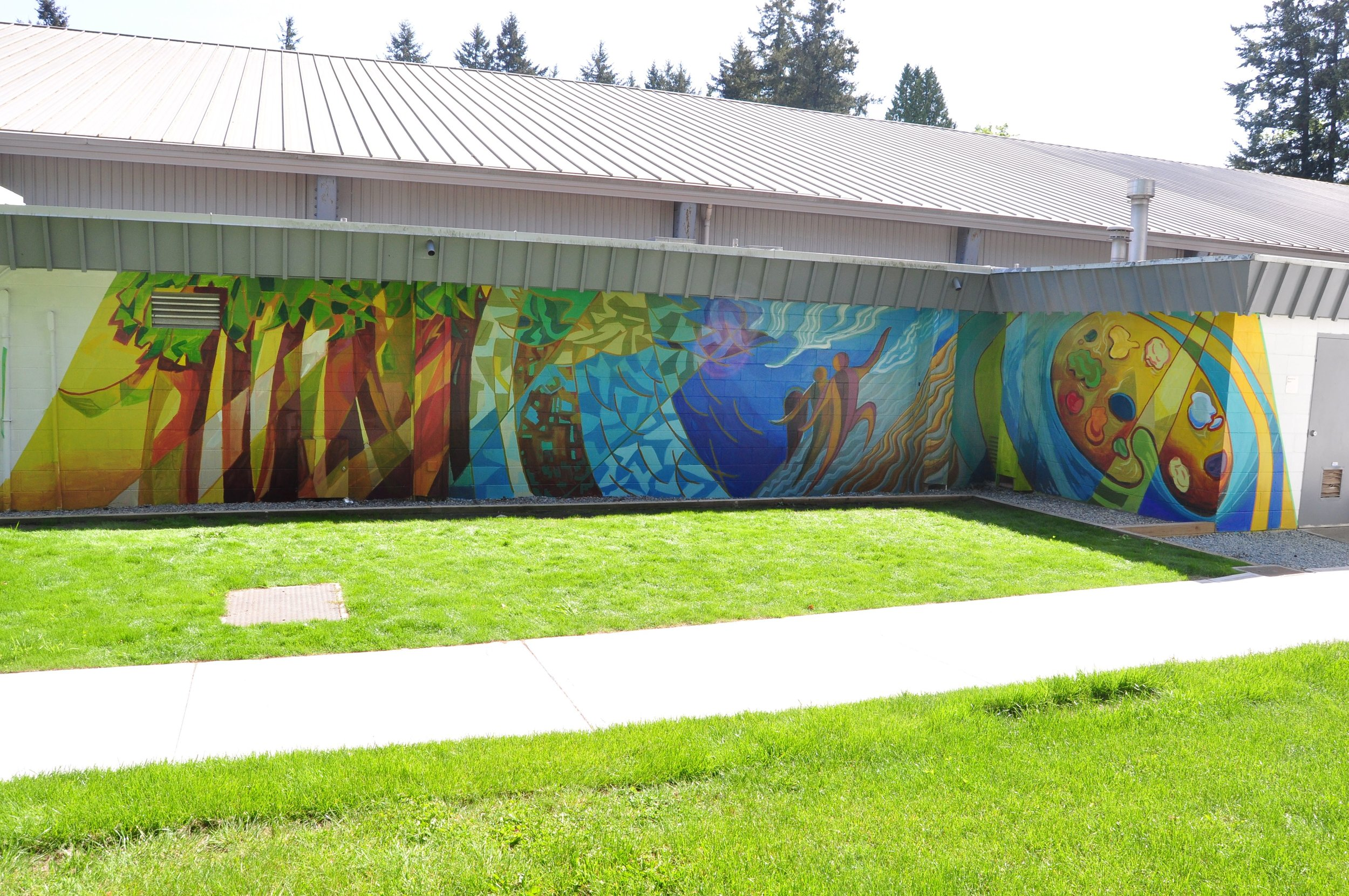 Semiahmoo Arts Mural, Acrylic paint, 2014, Richard Tetrault, Mallory Donen, Adam Lipschultz, Jeff Wilson, Jolayne Devente, Centennial Arena (North Facing Wall), White Rock, BC