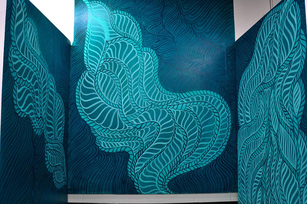 "Studio Mural, 48x72"" (Left), 71x83"" (Center), 48x72"" (Right), Acrylic paint, 2014, Mallory Donen, UFV BFA Senior Studio, Room C1402, Abbotsford, BC"