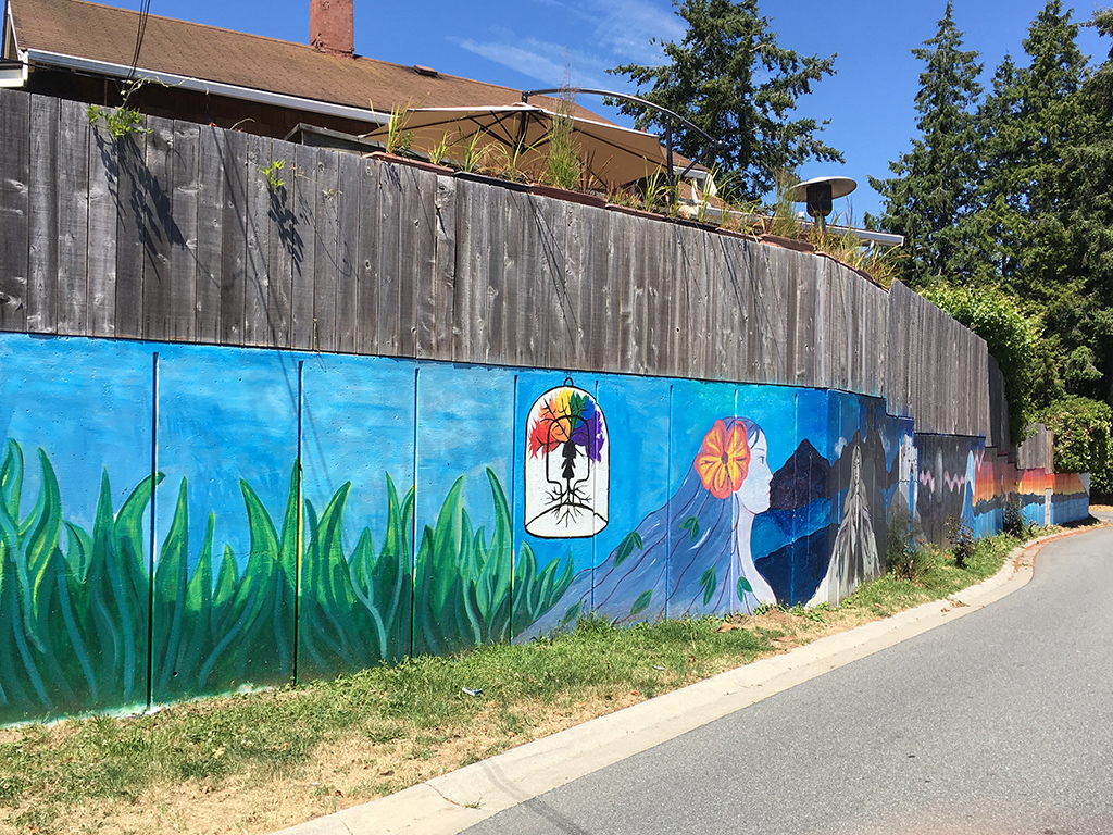 #WRYouthMural , approx. 72 ft x 5 ft, Oil based spray paint, Acrylic paint, 2018, Finlay and Victoria Street, White Rock, BC