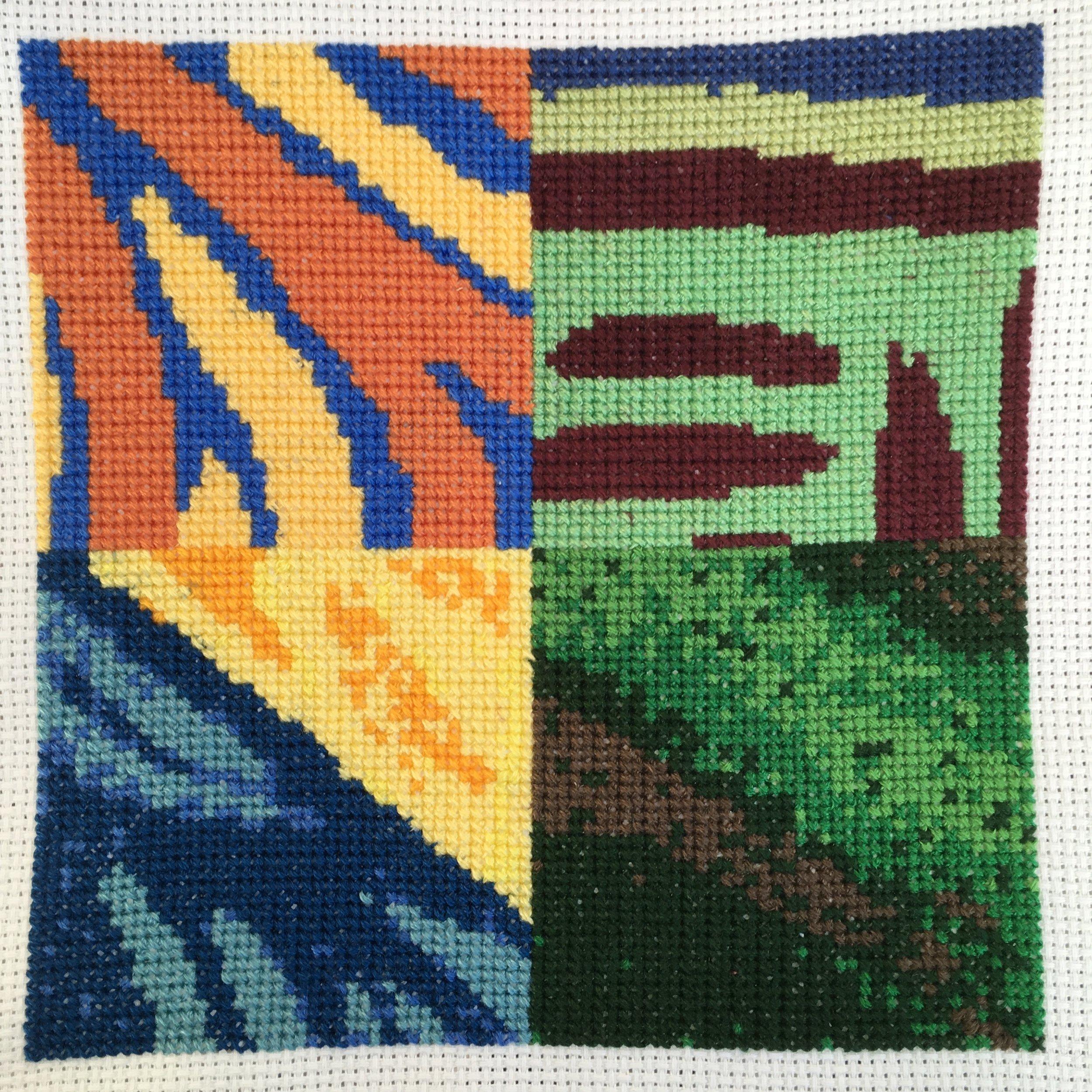 Translation #2 - Cross-Stitch,  2019, embroidery floss, Aida cloth, 6 x 6 inches