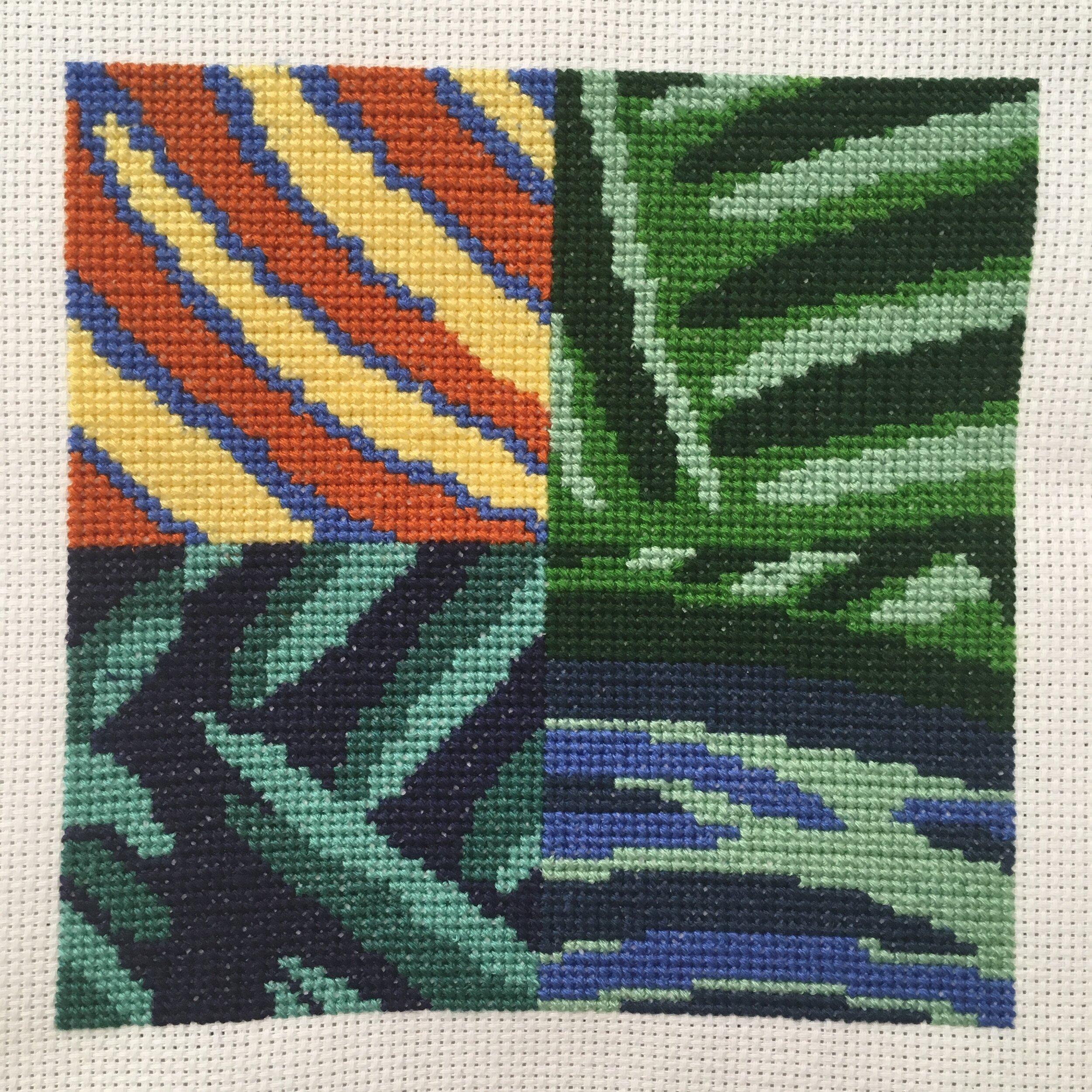Translation #3 - Cross-Stitch , 2019, embroidery floss, Aida cloth, 6 x 6 inches