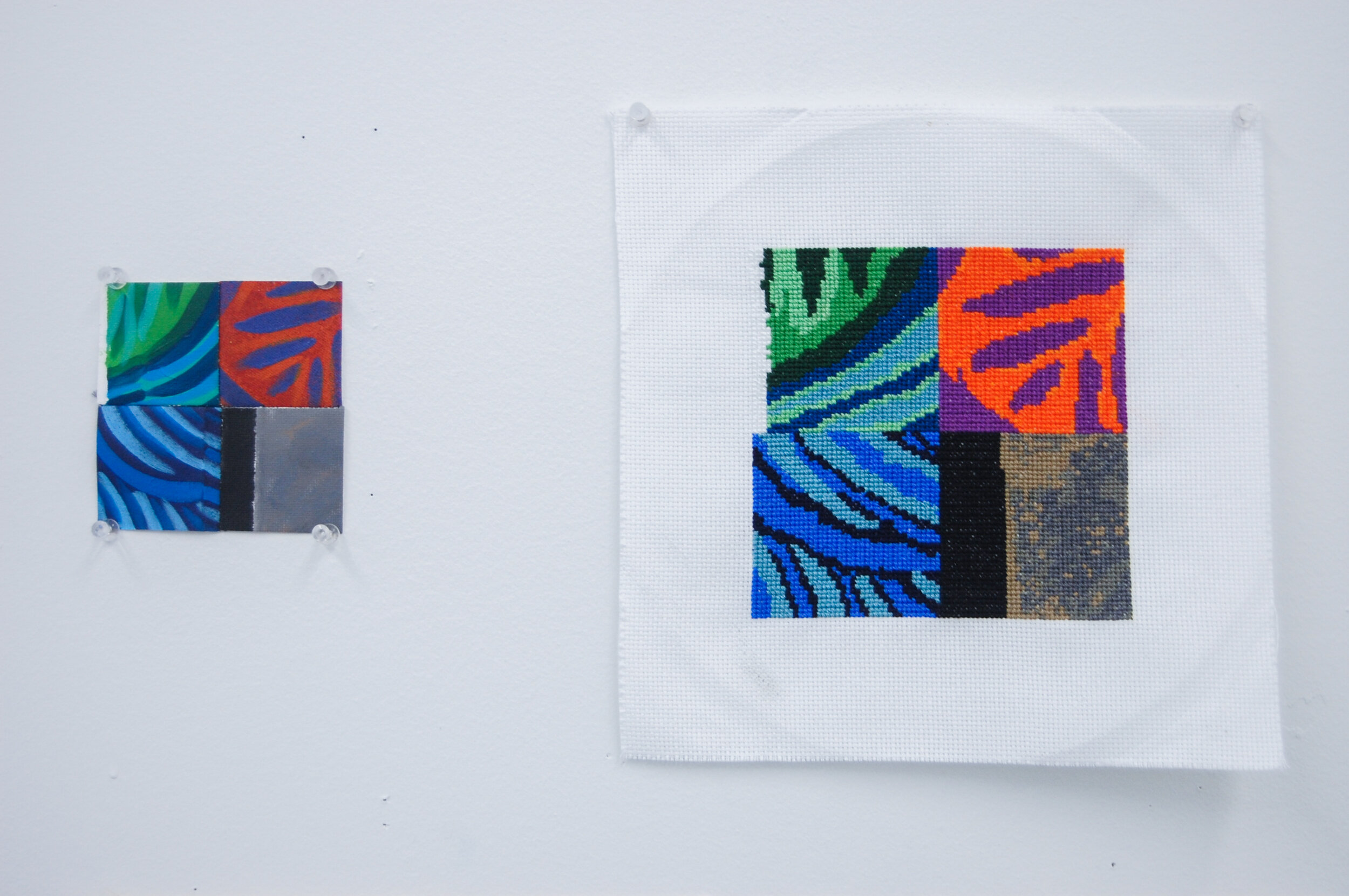 Translation #1 - Paint By Numbers,  2019, acrylic, canvas, embroidery floss, 4 x 4 inches and  Translation #1 - Cross-Stitch , 2019, embroidery floss, Aida cloth, 6 x 6 inches
